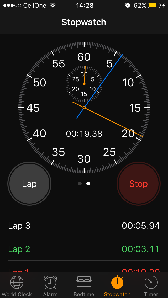 Stopwatch iOS 10