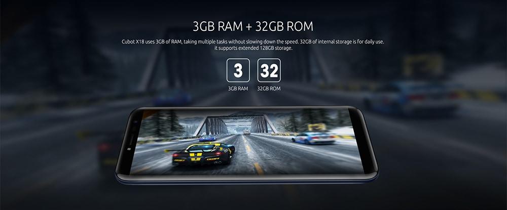 3GB RAM+32GB ROM CUBOT X18